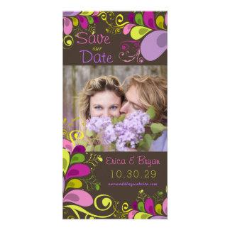 Le feuille floral coloré sauve le carte photo de photocartes personnalisées