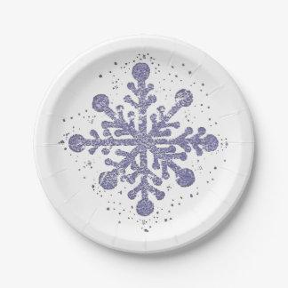 """Le flocon de neige bleu """"l'a laissé neiger"""" plat assiettes en papier"""