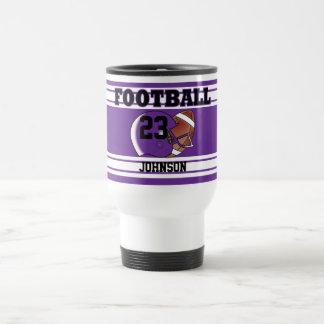 Le football pourpre et blanc mug de voyage