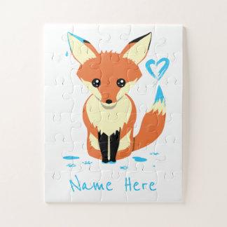 Le Fox mignon de bébé peint le puzzle bleu de nom