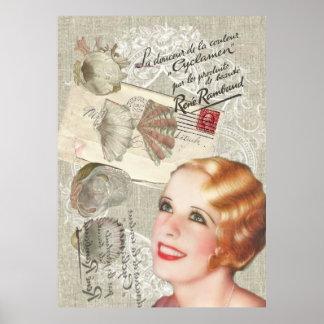 le Français vintage moderne de coquillage scripts Poster