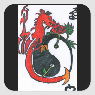 Le gardien à la rose du Yin et du Yang Sticker Carré