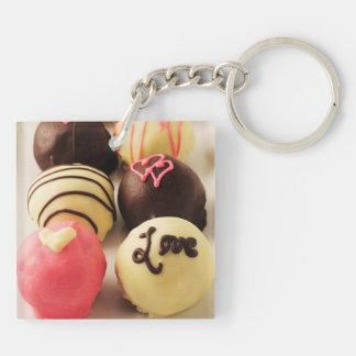 Le gâteau mord l'amour porte-clé carré en acrylique double face