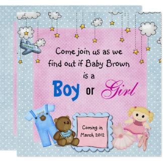 Le genre de bébé indiquent la partie carton d'invitation  13,33 cm