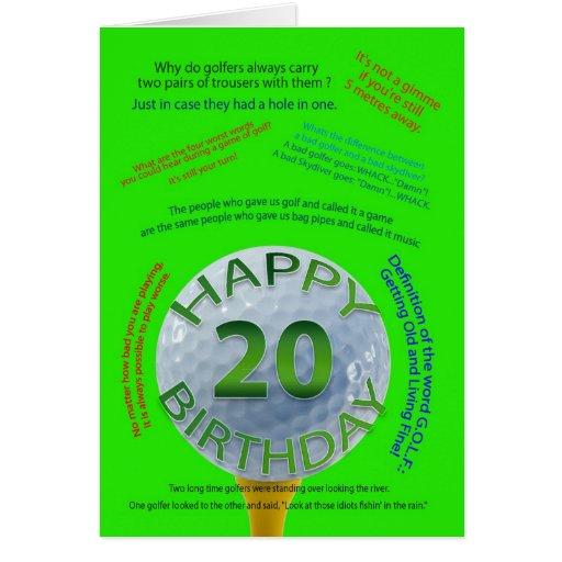 Le golf plaisante carte d'anniversaire pour 20 ans