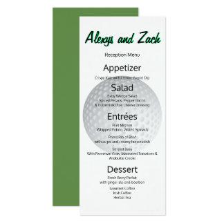 Le golfeur de golf folâtre le menu de réception de carton d'invitation  10,16 cm x 23,49 cm
