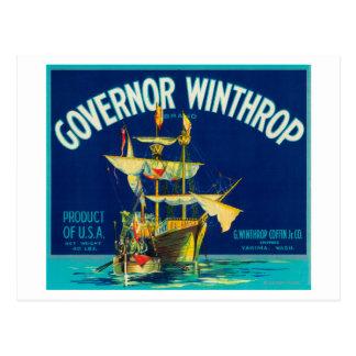 Le Gouverneur Winthrop Apple marquent (bleu) - Carte Postale