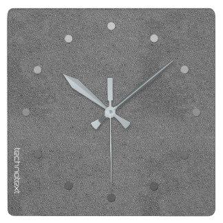 Le gris argenté chic simili cuir ajoutent le logo horloge carrée