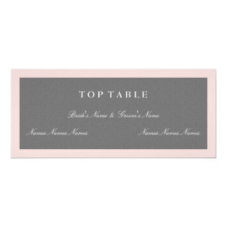 Le gris et rougissent carte supérieure rose de carton d'invitation  10,16 cm x 23,49 cm