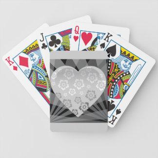 le GRIS heart-6 GRIS BLANC NOIR FLEURIT LE COEUR Jeu De Cartes
