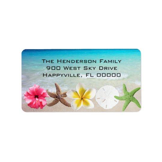 Le Hawaïen fleurit l'adresse de retour de Étiquette D'adresse