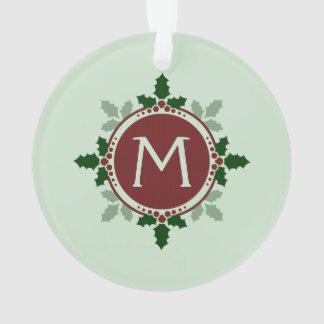 Le houx laisse l'ornement de vacances de Noël de