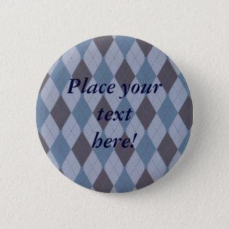 Le Jacquard bleu personnalisé de tartan de plaid Badge Rond 5 Cm