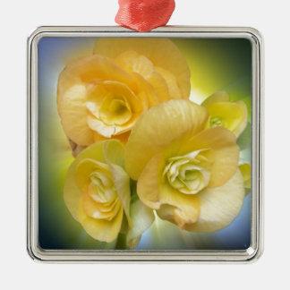 le jaune fleurit briller ornement carré argenté