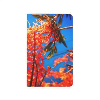 Le jaune orange fleurit le carnet de ciel d'arbre