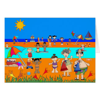 Le jour de l'enfant de carte à la plage