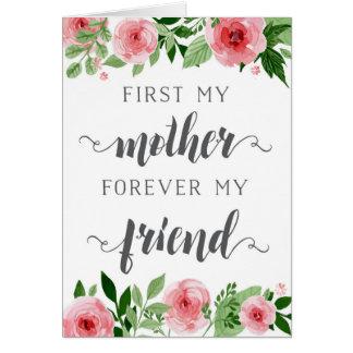 Le jour de mère, d'abord une mère, pour toujours carte de vœux