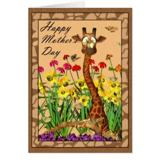 Le jour de mère heureux, enfantant dimanche avec carte de vœux