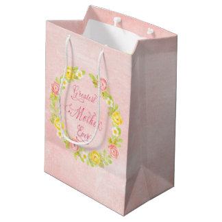 Le jour de mère - jolis roses 2 d'aquarelle sac cadeau moyen