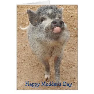 Le jour de Mudder heureux, mini carte de porc