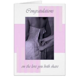 Le jour du mariage dentelle des félicitations carte de vœux