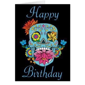 Le joyeux anniversaire fleurit le crâne mexicain carte