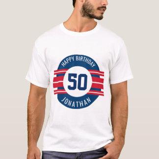 Le joyeux anniversaire folâtre des rayures nom et t-shirt