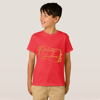 Le Joyeux Noël d'or rouge badine le T-shirt
