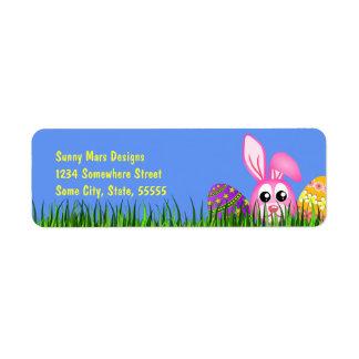 Le lapin de Pâques mignon Eggs de petits Étiquettes D'adresse Retour