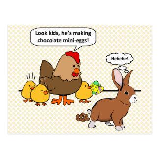 Le lapin fait à dunette de chocolat la bande dessi cartes postales