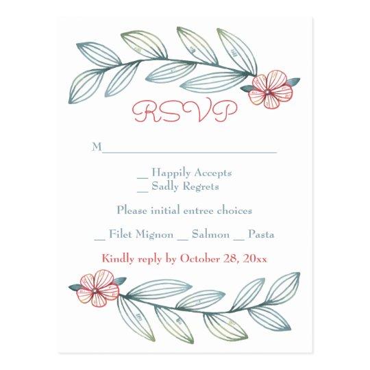 Le laurier floral de gris bleu de RSVP laisse la Cartes Postales