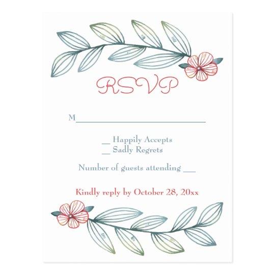 Le laurier floral de gris bleu de RSVP laisse les Cartes Postales
