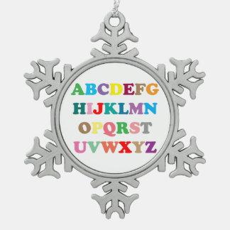 Le lettrage coloré d'ABC Ornement Flocon De Neige Pewter
