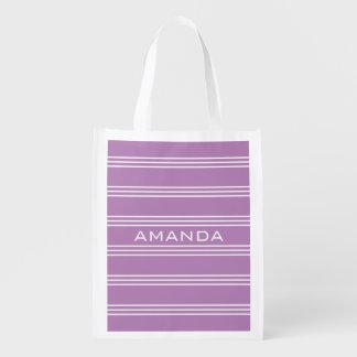 Le lilas barre le sac réutilisable de monogramme