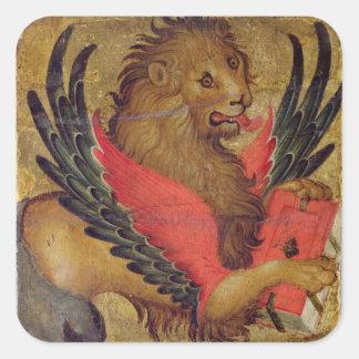 Le lion de St Mark (huile sur le panneau) Sticker Carré