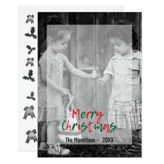 Le manuscrit rouge de vert moderne de Joyeux Noël Carton D'invitation 12,7 Cm X 17,78 Cm