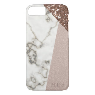 Le marbre rose de parties scintillantes d'or de coque iPhone 8/7