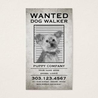 le marcheur de chien a voulu l'affiche cartes de visite