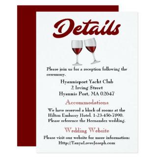 Le mariage de Bourgogne détaille des directions en Carton D'invitation 11,43 Cm X 15,87 Cm