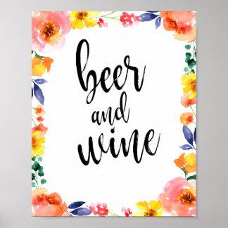 Le mariage floral de l'aquarelle 8x10 de bière et