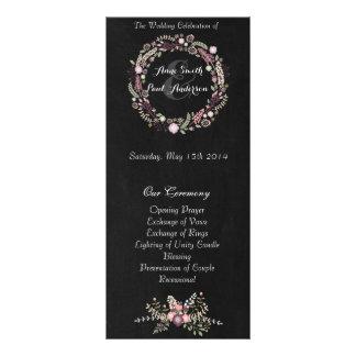 Le mariage floral et de tableau programme III Carte Double En Couleur