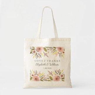 Le mariage floral rustique rougissent des roses sac en toile budget