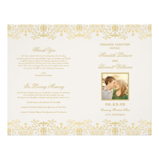 Le mariage programme le charme de cru d'or de | prospectus 21,6 cm x 24,94 cm