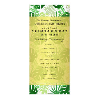 Le mariage programme le feuille tropical vert