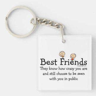 Le meilleur ami sait porte-clé carré en acrylique une face