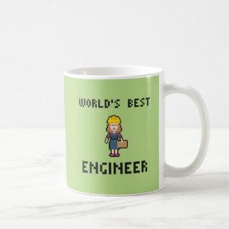 Le meilleur ingénieur féminin de pixel mug blanc