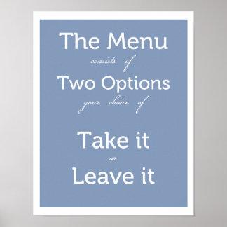 Le menu a deux choix