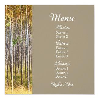 Le menu de notation d'affaires de sylviculture carton d'invitation  13,33 cm