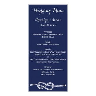 Le menu nautique de mariage de bleu marine carde motif pour double carte