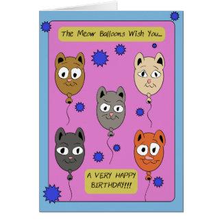 Le Meow monte en ballon la carte d'anniversaire